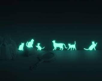 Luminous MOONLIGHT CAT (glow in the dark nightlight deco sticker )