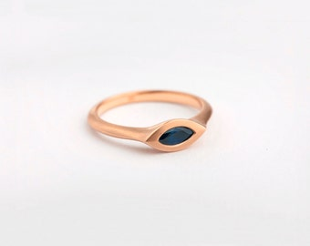 Large Rose Gold Sapphire Ring, Marquise Ring, Sapphire Engagement Ring, Blue Saphire Ring, 18k Rose Gold Marquise Engagement