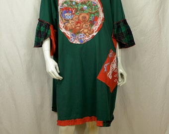 Not so ugly Christmas tunic 5x Plus size Holiday upcycled clothing Refashioned artsy tunic dress 4X Lagenlook loose top Holiday dresses Bear