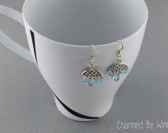 Umbrella Earrings, Dangle Earrings, Baby Shower, Bridal Shower, Rain, In Omnia Paratus, Gilmore Girls Inspired - CUSTOM COLORS AVAILABLE
