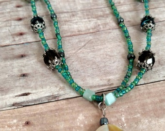 Green shell necklace - blue shell necklace - shell necklace - blue and green necklace - shell jewelry - multi strand necklace - gift for her
