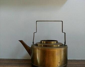 Vintage Brass Tea Kettle, Art Deco Kettle, Metal Kettle, Tea Kettle