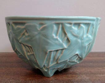 Vintage McCoy Turquoise Ivy Round Planter, Footed Indoor Planter, Hanging Turquoise Pottery