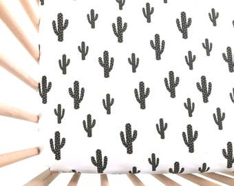 Crib Sheet Black Cactus. Fitted Crib Sheet. Baby Bedding. Crib Bedding. Crib Sheets. Black and White Crib Sheet.