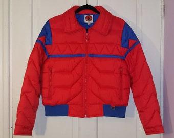 MOUNTAIN GOAT by White Stag SKI Jacket // Bright Orange and Blue Puffer Down Women's Jacket Size L 70's Puffy Coat Winter Retro