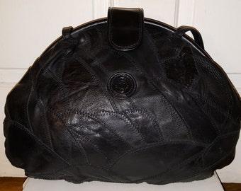 LEATHER PATCHWORK PURSE // Vintage Mitzi Shoulder Bag 70's Black Boho Hippie Geometric Puzzle 80's