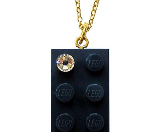 Navy Blue LEGO (R) brick 2x4 with a Diamond color SWAROVSKI crystal on a Silver/Gold plated trace chain