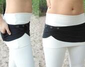 Taygeta: Pocket Belt. Stretchy Waist Bag with Adjustable Snaps. Organic Cotton Lycra Money Belt. Athletic Festival Utility Belt Mini Skirt.