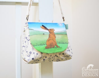 Hare Handbag, Cross Body Bag, Small Messenger Bag, Shoulder Bag