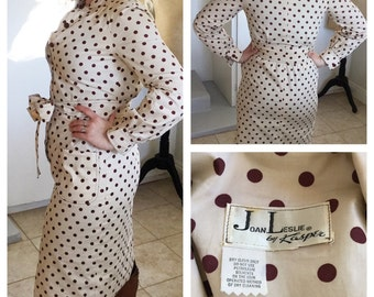 1960s vintage Leslie FAY by Kasper with brown polka dots sexy dress size S/M