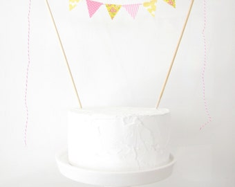 Pink Lemonade Cake Topper, Fabric Cake Bunting, Wedding, Birthday Party, Shower Decor pastel gingham yellow vintage floral dots Mother's Day