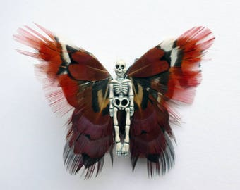 Dead Fairy Brooch, feather butterfly pin, winged skeleton badge