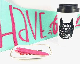 crazy cat lady Caffeine and kitties coffee mug, cat lover travel mug, gifts for her, gifts for best friend, cat gift, funny coffee mug