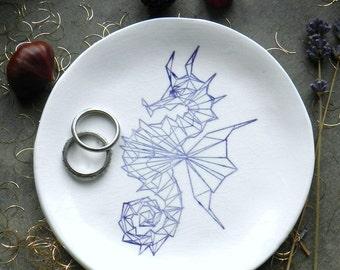 Geometric Seahorse White Porcelain Ring Dish, Animal Ceramic Plate Jewelry Dish geometric  Home Decor Purple Seahorse Porcelain Trinket Dish