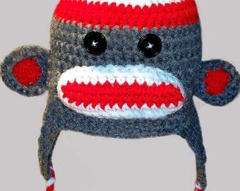 Sock Monkey Ear Flap Hat - Gray/Red/White