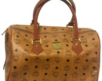 MINT. Vintage MCM brown monogram duffle bag, speedy bag. Unisex use purse in classic style in originality. Mini travel bag.