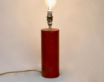 Vintage 1980 Leather Table Lamp Base