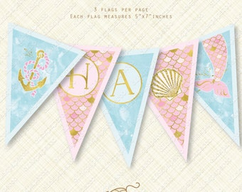 Pink Mermaid Banner Happy Birthday Printable Bunting digital Instant Download pdf party flag watercolor scales anchor shell tail foil effect