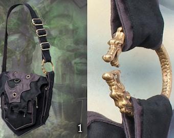 Akasha Bag - triple zipper pocket shoulder bag with Dragonring