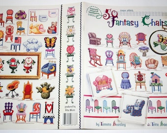 Cross Stitch book patterns of 50 Fantasy Chairs