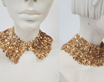 1960s Gold Sequin Party / Styling Collar