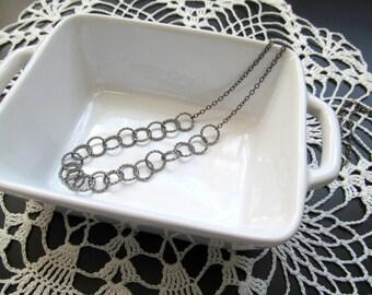 Long Gunmetal Single Strand Necklace - Bohemian Dainty Chain Necklace