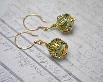 Artisan Lampwork Earrings, Glass Bead Earrings, Unique Earrings, Art Jewelry, Gold Fill Earrings, Green & Gold Earrings, Mothers Day Jewelry