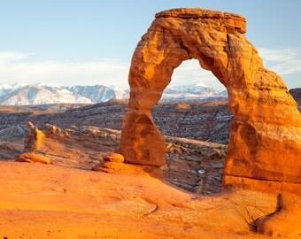 Utah Landscape Photography Print - Delicate Arch Sunset - Arches National Park Moab - MetalPrint Option - 11x14 16x20 20x30 24x36 30x40