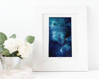 Cancer, Zodiac Sign, Watercolor Print, 5x7, 8x10, Wall Art, Galaxy, Constellation, Stars, Astrology, Astronomy, Gift, Giclee Print