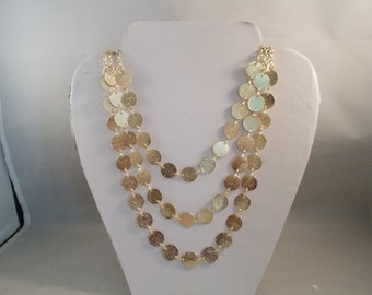 3 Strand Gold Tone Chain Necklace with Gold Tone Disc Charm Beads