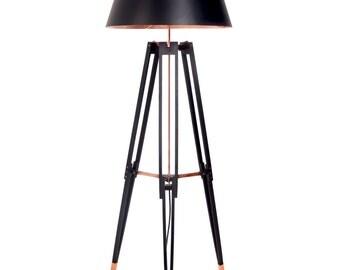 Floor Lamp Krafla. Copper lamp. Designer lamp. Tripod Lamp.