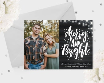 Merry & Bright Christmas Photo Card, 5x7 Christmas Card, Christmas Photo Card, Merry Christmas Holiday Card, Greeting Card