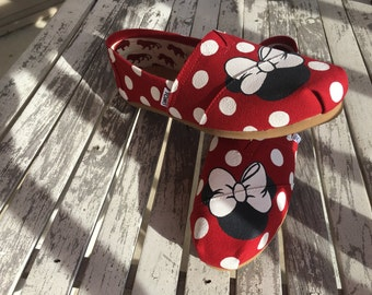 Red Minnie Mouse Polka Dot CUSTOM TOMS with Optional Name