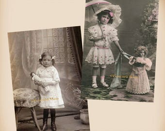 Girl With A Doll - 3 New 4x6 Vintage Postcard Image Photo Prints - GD41-02