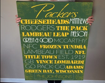 Green Bay Packers personalized Print or Canvas. greenbay packers. green bay packers decor. packers. green bay packers vintage. packers gift.