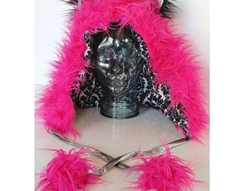 CUSTOM festival hood kitty panda bear wolf hat rave hood with pom poms fluffies animal hat rave hat