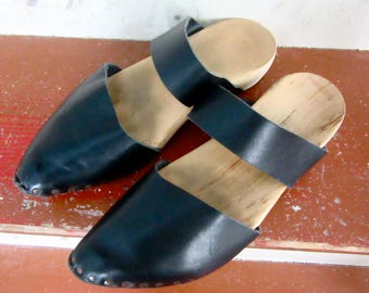 Rippen Wood and Leather Clogs - Mules - Slides - Black Leather - Nail Studs