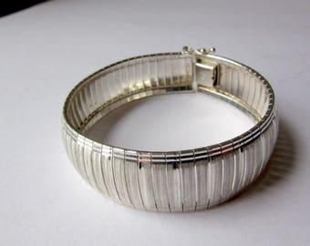 Sterling Silver Diamond Cut Bracelet - Wide Links - Etched Design - 925