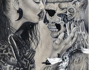 PRINT - Zombie Boy Drawing