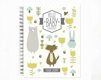 Hello Baby™ Baby Book, Baby Memory Book, ANIMAL, Personalized Baby Book,  Baby Books, The Sweet Rhino