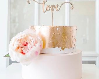 Love script calligraphy wood laser cut cake topper for wedding cake, birthday, anniversary - gold or natural wood