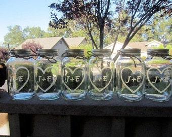 12 Etched Mason Jars - 12 Wedding Mason Jar Center Pieces