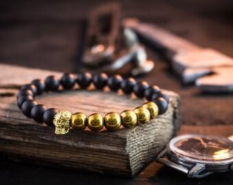 8mm - Matte black and gold beaded gold skull stretchy bracelet, made to order yoga bracelet, mens beaded bracelet, womens bracelet