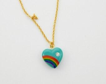 Turquoise Rainbow Heart Necklace