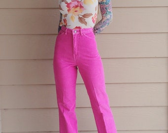 Gorgeous Gloria Vanderbilt Fuchsia Rose Pink Corduroy High Waisted Trouser Pants // Women's size 25 26 Small S XS