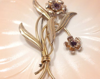12 K Gold Filled Floral Spray Brooch on Silver with Purple Prong Set Rhinestones