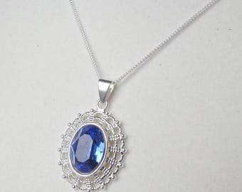 Sapphire Crystal Oval in Silver Filigree Pendant with Fine Silver Chain