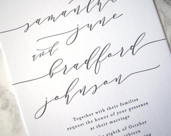FLAT SAMPLE | Samantha Wedding Invitation | Minimalist Invitation | Simple Invitation | Black and white invitation | Clean Invitation