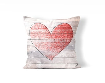 heart pillow, rustic Valentine's Day decor, love pillow cover, weathered wood, farmhouse style pillow, pillow for chair, heart decor