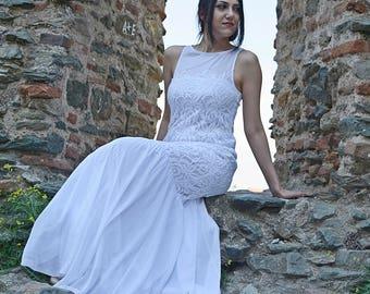 Wedding Dress, Long Lace Wedding Dress, Bohemain  Wedding, Boho Wedding Dress, Vintage Wedding Dress, Simple Wedding Dress,  Bridal Dresses